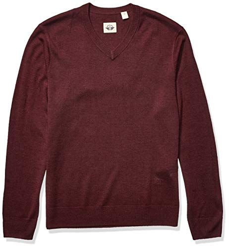 Dockers Men's Long Sleeve V-Neck Sweater, Burgundy Heather (Legacy), Small