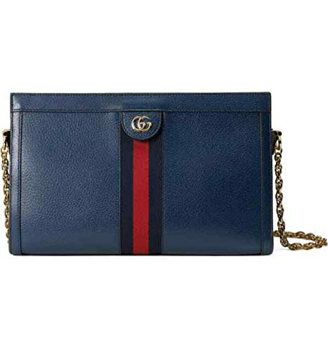 Gucci Medium Ophidia Blue Agata Leather Shoulder Bag Handbag Red Stripe Italy NW An inlaid house web and heritage double-G hardware bring timeless style to this leather bag designed with dual interior compartments for easy organization. Hidden magnet...