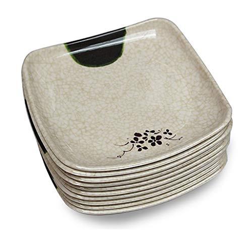 GPWDSN 10 Plato de Caramelo Cuadrado Verde Oscuro Imitación de Grietas Cocina Sala de Estar Bandeja de refrigerios Bandeja de Comedor para el hogar