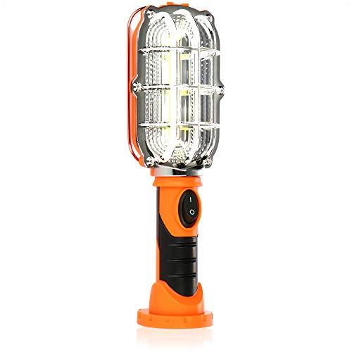 com-four Lámpara de Trabajo LED con imán - Lámpara de inspección con Gancho - Lámpara de Taller inalámbrica con Interruptor - Lámpara de Trabajo a Pilas (01 Pieza - Naranja)