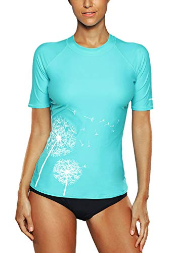 Vegatos Damen Rash Guard UV-Shirt Sportlich Kurzarm Badeshirt Spitze UV-Schutz Schwimmshirt Aqua S