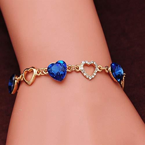 DHDHWL Pulsera Pulseras Corazón Romántico Pulsera Brazalete De Joyería De Las Mujeres del Color Oro Cristal Encanto Pulseras Brazaletes De La Manera (Metal Color : Blue)