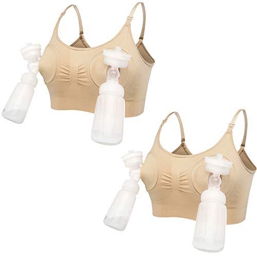 Sujetador de lactancia Maternity, sin aros, manos libres, bustier sacaleches 2 unidades de color L