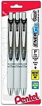 Pentel Gel Ink Pen, EnerGel Pearl RTX0.5mm, Fine Point, Needle Tip (BLN75WBP3A),Black