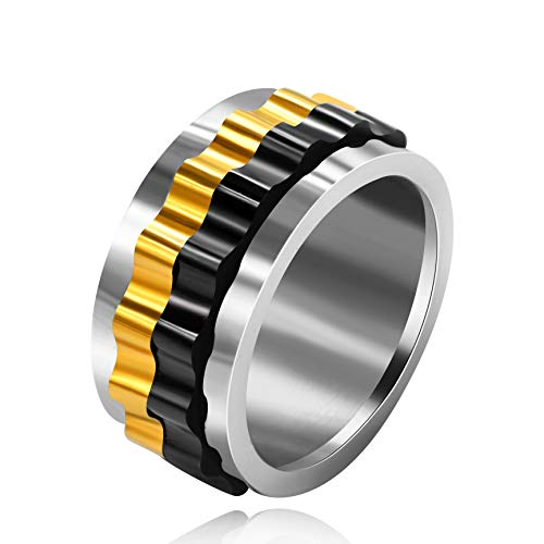 Uloveido Fashion Black Gold Color Gear Spinner Rings for Mens Statement Rings for Dad Boyfriend Birthday Y485 Size 8