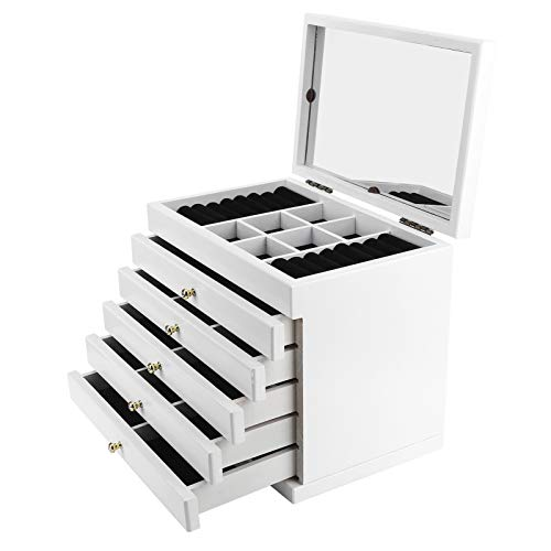 Wakects - Joyero de madera de 6 capas con cajones, caja de almacenamiento para joyas de gran tamaño con espejo, apto para una visualización personal y en almacenes