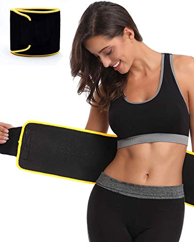 Sweat Slim Belt Neoprene Body Shaper and Tummy Trimmer for Men & Women Supports Weight Management & Lower Back Support (Black)