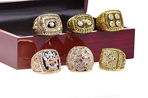 BB-CLUB A Set of 6 Steelers Championship Replica Ring by Display Box...
