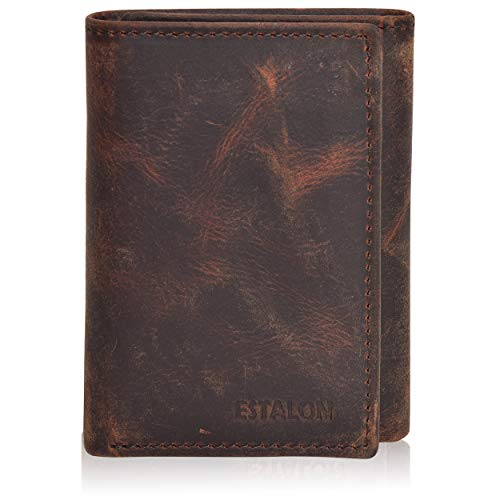 Men's Wallet Durable Leather - RFID Blocking Brown Vintage Trifold Wallet