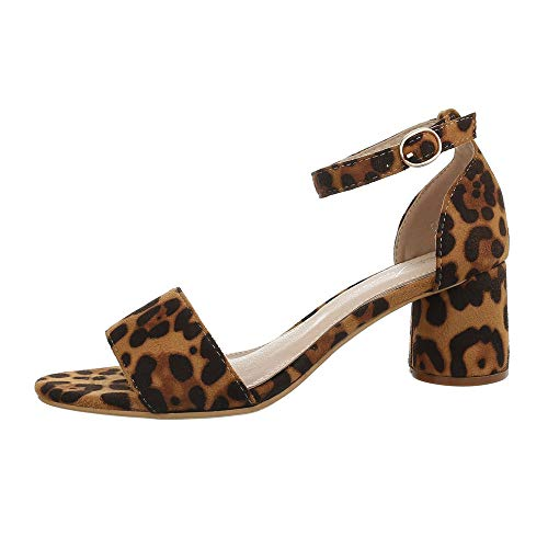 Ital-Design Damenschuhe Sandalen & Sandaletten High Heel Sandaletten Synthetik Leo Multi Gr. 38