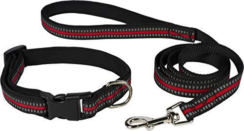 Puccybell Reflektierendes Nylon Hundehalsband und Hundeleine (1,2m) im Set, Leuchtendes Streifen Design, für kleine und mittelgroße Hunde HLS009 (S/M, Rot)