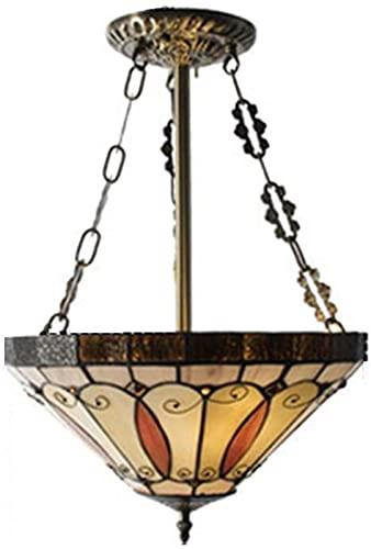 Lámpara de araña estilo Tiffany vintage, pantallas de vidrieras amarillas y rojas Lámpara de araña de 8 brazos con lámpara colgante de techo de una sola cabeza invertida de 10 pulgadas (tamaño: 1