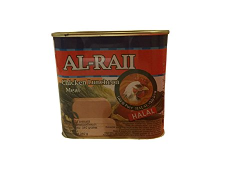 Al Raii Carne di pollo in scatola (340 g), cibo halal siriano