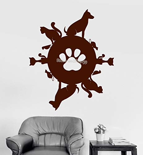 HNXDP Pet Planet Vinyl Kunst Wandtattoo Tiergeschäft Katze Hund Aufkleber Wandbild Kinderzimmer Sofa Hintergrund Wandaufkleber Monochrom Poster 56cmX67cm
