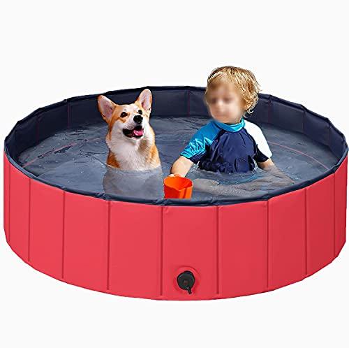 Migaven Piscina Perros, Piscina Plegable para Mascotas Gatos Perros Cachorro, Piscina para Perros Estanque de Agua con 6 Juguetes de Bañera para Niños Mascotas Uso Interior Al Aire Libre(80 x 20CM)