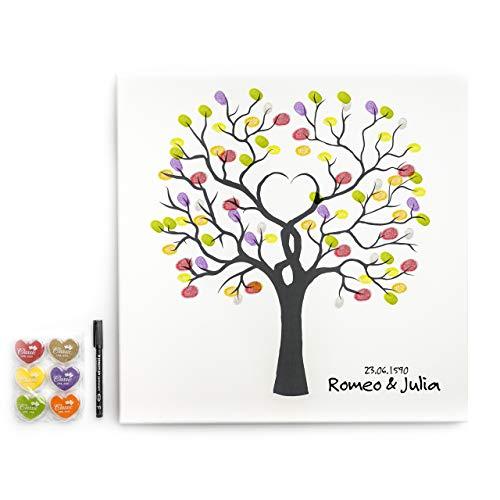 codiarts. Leinwand für Fingerabdrücke DIY Hochzeit, Jubiläum, Familienfeier, Party, Geburtstag als Gästebuch inkl. Stempelkissen und Stift - Motiv Baum Wedding Tree- 50x50cm, Made in Germany