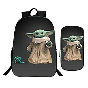Mochila para niños Bebé 3d Yoda Mochila De Dos Piezas De Dibujos Animados De Super Escuela Primaria Luz De Escolar Del Hombro Bag + Pencil Bag + Bolsa De Mensajero B-41 * 30 * 16cm