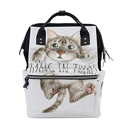 MERRYSUGAR Diaper Bag Backpack Funny Cat White Baby Bag School Backpack Mommy Bag Large Multifunction Travel Bag