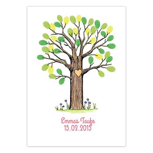 """Wedding Tree Gästebuch """"Mittlerer Baum - Bunt"""" - für Hochzeit Kommunion Taufe - DIN-A4..."""