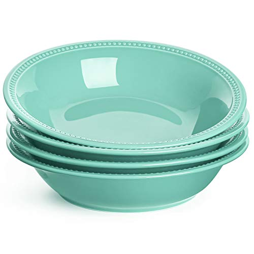 LE TAUCI 26 Ounce Beaded Pasta Bowls, Ceramic Bowl Set for Cereal, Salad, 9 Inch - Turquoise