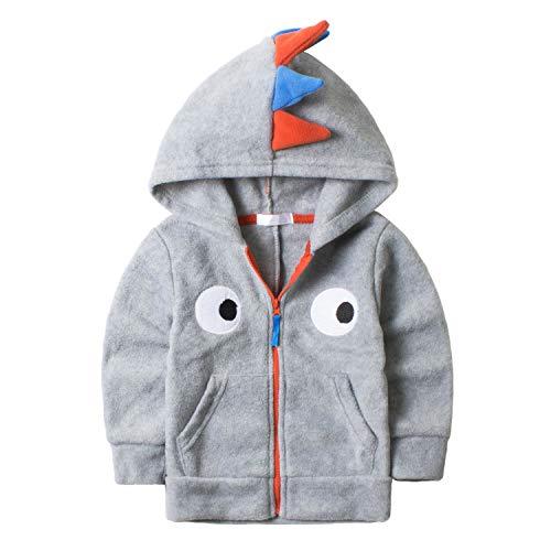 Canvos Little Boys Dinosaur Jacket Hoodies Toddler Fleece Clothes Zip-up Sweatshirt Gray 120, 4-5T