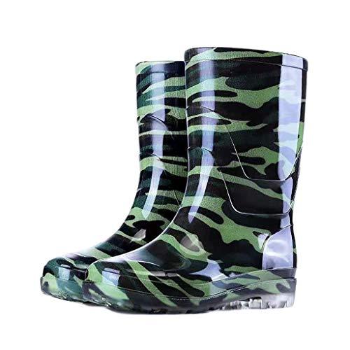 YQQMC - Botas de lluvia de camuflaje para hombre, antideslizantes, impermeables, para trabajo en el jardín (color: camuflaje, tamaño: 40)