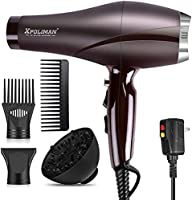 2000 Watt Hair Dryers, Xpoliman Professional Salon Hair Dryer with AC Motor, Negative Ionic Blow Dryer with Diffuser...