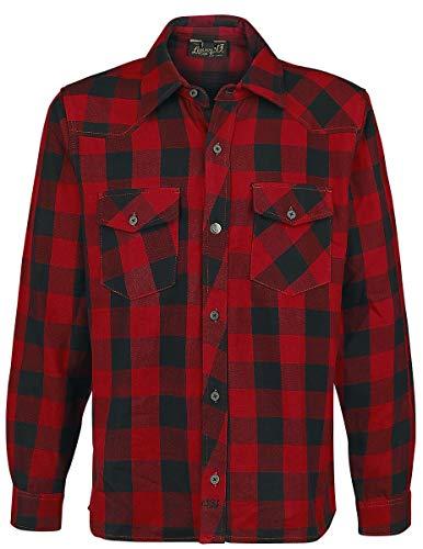 Lucky 13 Shocker Flannel Shirt Flanellhemd rot/schwarz XL