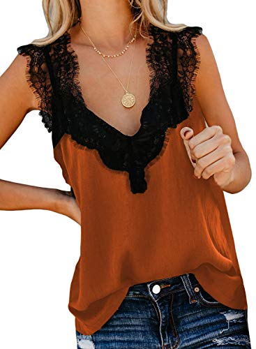 Aleumdr Tops Damen Spitze Tunika Top Sommer Bluse Ärmellose V-Ausschnitt Tank Top Oberteil Bluse Elegant Weste Hemdbluse Orange S