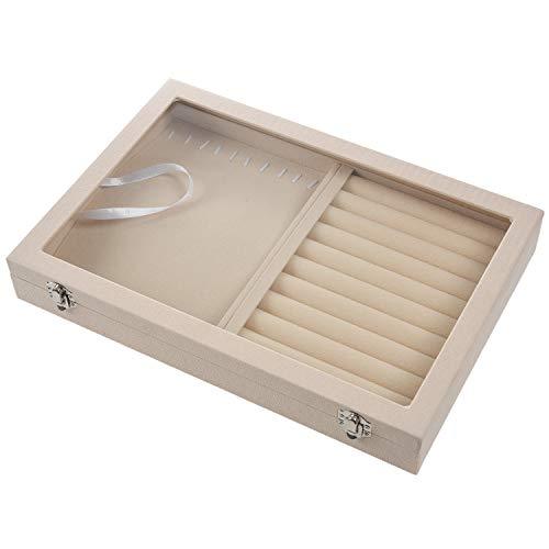 Fransande Caja de joyería de forro polar para exhibición de joyas, soporte para pendientes, collar y bandeja de exhibición de soporte organizador de caja de reloj rosa + collar
