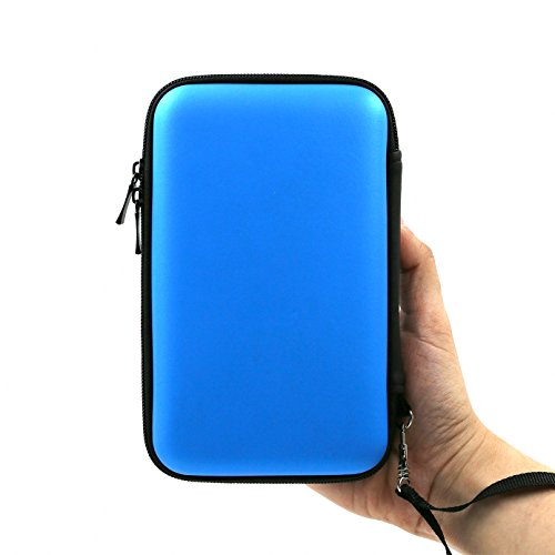 ADVcer 3DS Case, EVA Waterproof Hard Shield Protective Carrying Case with Detachable Hand Wrist Strap Compatible with Nintendo New 3DS XL, New 3DS, 3DS XL, 3DS, 3DS LL or 2DS XL or DSi, DS Lite (Blue)