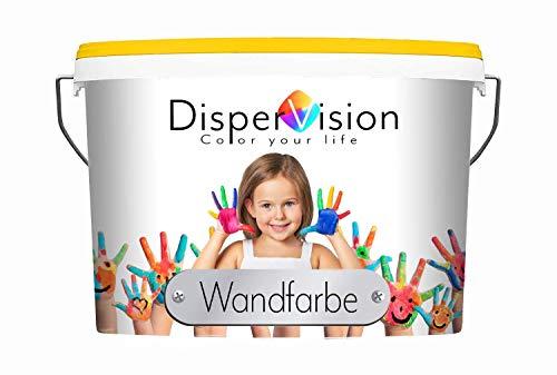 DisperVision Wandfarbe weiß & getönt matt Innenfarbe Geruchsarm Hochdeckend & Abwischbar (5 L, Weiß)