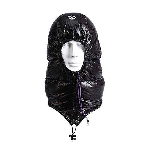 WIND HARD Winter Down Hat Ultra-Light Windproof Waterproof Sleeping Bag Trooper Hunting Trapper Hat Cap Unisex with Compression Stuff Sack Storage Bag 0.2lb (Black)