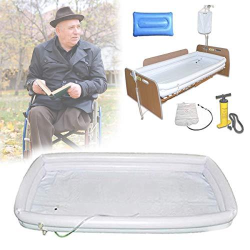EFGSbed PVC Bañera Inflable Discapacitados para, Ayudas Baño Inflables para Adultos, con Inflador + Bolsa De Ducha + Almohada Inflable, para Paciente En Cama Baño Fácilmente En La Cama