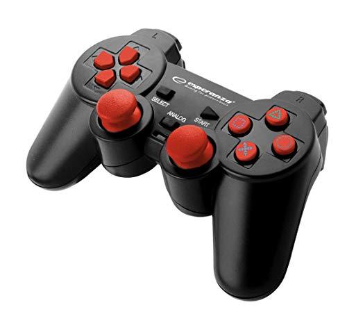 Esperanza Corsair Controller Gamepad para PS2/PS3/Computer/PC con vibración, Joystick, Plug y Play Rojo