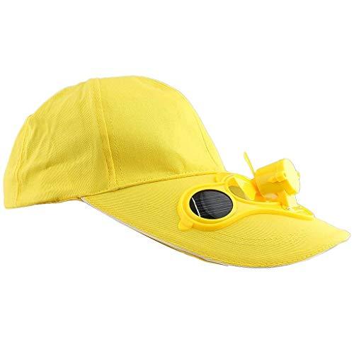 Männer Herren Outdoor Sport Fischen Golf Mit Cap Ventilator Solar Jungen Kappe Mit Fter Sonnenhut Schirmmütze (Color : Gelb, Size : One Size)