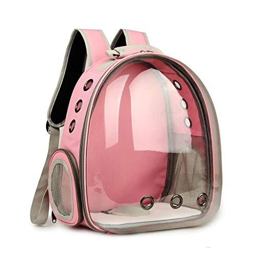 Luluspace Haustier Rucksack Raumkapsel, 360 ° Sichtfeld Tragbar Transportrucksack Transporttasche Tragetasche für Klein Haustier Hunde Katzen Kaninchen im Freien, Sicher & Atmungsaktiv (Rosa)