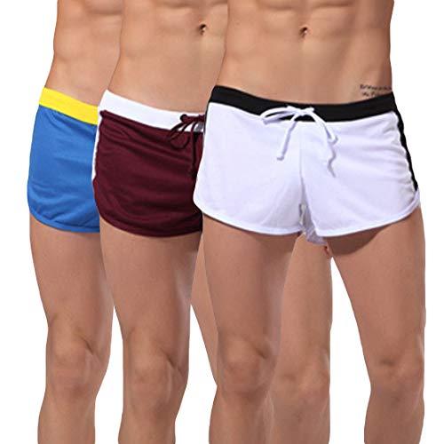 Xiang Ru Herren Lauf-Shorts, ultraleicht, für Training, Jogging, Marathon, Zuhause, Hose mit Jockstrap innen Gr. M, Weiß + Rot + Blau