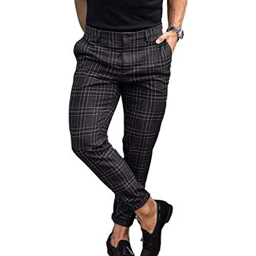 Pantalones Casuales Moda algodón Pantalones de Hombre de Peso Medio Business Casual Slim Fit Plaid Print Cripper Pantalones Largos Pantalones Pantalones (Color : Black, Size : XXL)