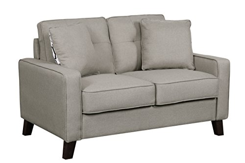 Container Furniture Direct Lillana Linen Upholstered Mid-Century Modern Tufted Loveseat with Two Accent Pillows, Light Coffee Brown