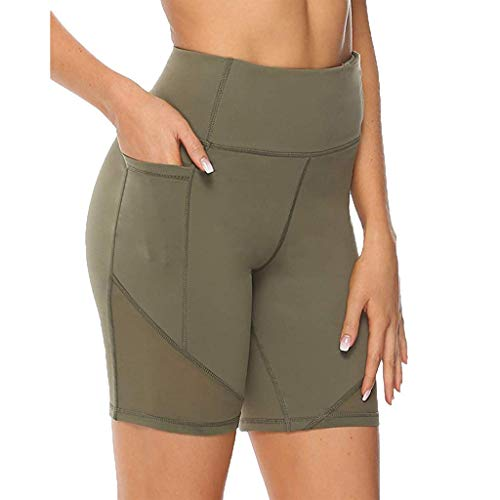 Andouy Damen Sport Leggins Hohe Taille 3/4 Yogahose Blickdichte Laufhos Fitness Shorts Jogginghose mit Taschen(5XL.Armeegrün)