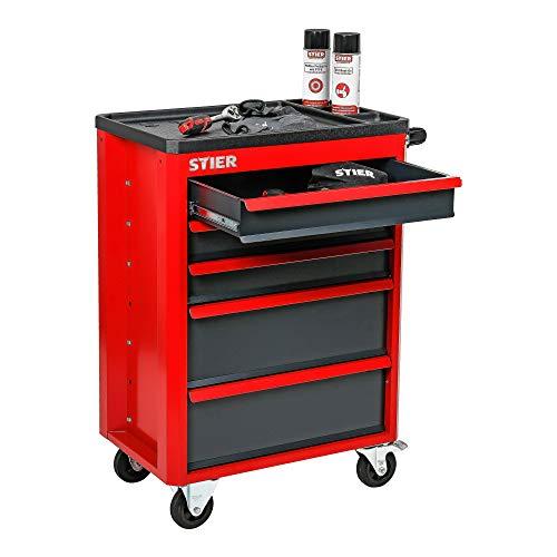 STIER Werkstattwagen Basic+, mit Kunststoffabdeckung, unbestückt – leer, Werkzeugwagen – Montagewagen, Max. Belastung - 6