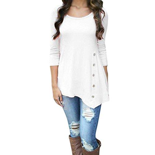 VEMOW Heißer Sommer Herbst Frauen Mädchen Casual Langarm Lose Taste Trim Bluse einfarbig Rundhals Tunika T-Shirt (38 DE/M CN, Weiß)