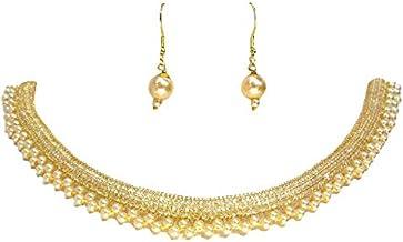 Shree Mauli Creation Golden AlloyGolden AD Chain Pearl Layer Necklace Set for Women SMCN1185