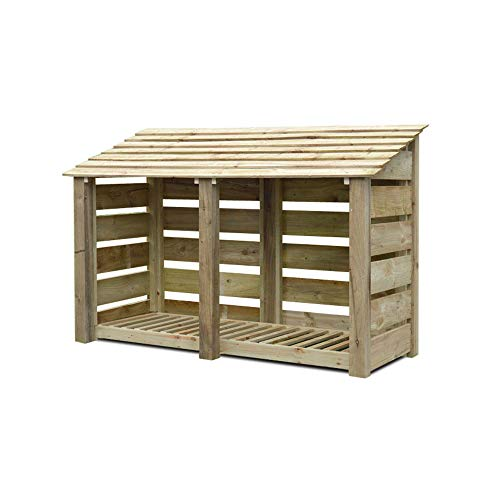Rutland County Garden Furniture Normanton 4ft Tall Log Store/Garden Storage Heavy Duty Pressure Treated Timber With Forward Sloping Roof