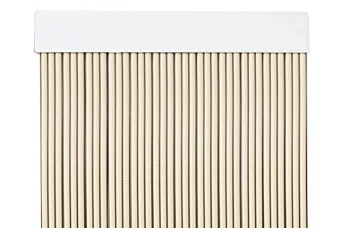 MERCURY TEXTIL Cortina para Puerta Tiras PVC 210x90cm,Cortina para Puerta Exterior (Beige+Filo Marron)