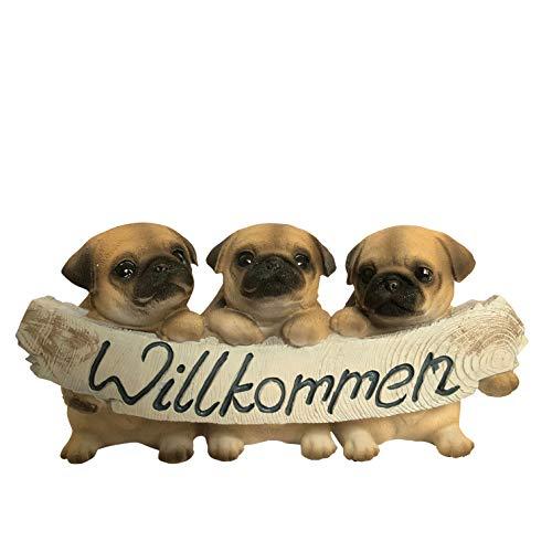 OF Verschiedene Gartenfiguren Willkommen Schild - Deko Figuren Hunde, Katzen, Erdmännchen, Mops, Bulldogge, Labrador (Möpse)