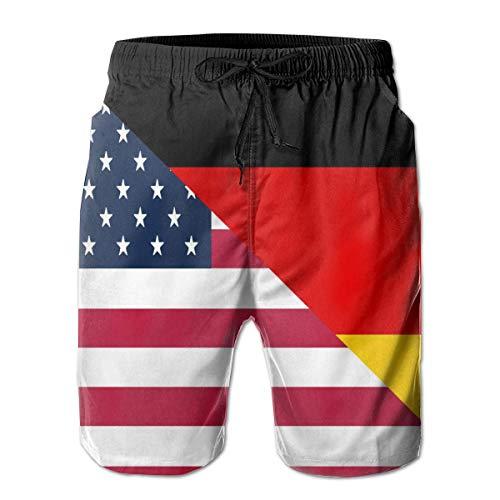 Herren Beach Board Shorts Amerikanische und Deutschland Flagge Workout Badehose Fashion Water Shorts Badeanzug