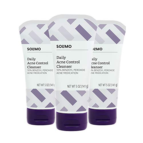 Amazon Brand - Solimo Daily Acne Control Cleanser, Maximum Strength 10% Benzoyl Peroxide Acne Medication, 5 Ounce (Pack of 3)