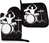 MODORSAN Set für Schlagzeughandschuhe und Topflappen, hitzebeständige, rutschfeste, wasserdichte Handschuhe zum Kochen, Grillen und...